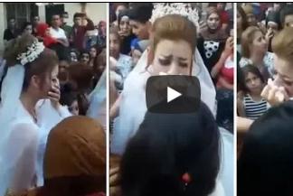 بالفيديو.. عروسة تنهار من البكاء وتتسبب في بكاء جميع من حولها