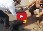 شاهد : مدرس يشعل النار في نفسه بالغربية احتجاجا على سوء أحواله المعيشية
