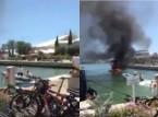 فيديو: قارب ينفجر ويقذف ركابه