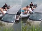 شاهد..  مراهقان ينقذان عجوزين من داخل سيارة تغرق