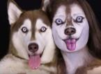 شاهد..  فتاة تحول وجهها لـ وجه كلب بالمكياج