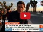 مراسل يتعرض لحادث غريب أثناء تغطيته لحدث رياضي