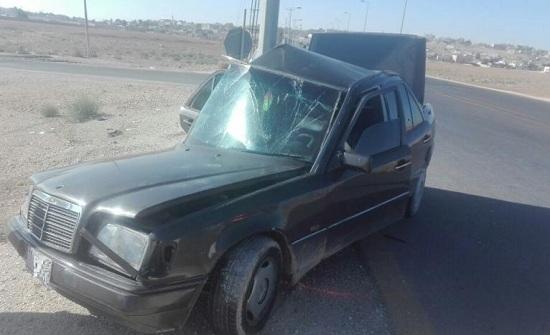 بالصور : اصابة في حادث سير بالموقر