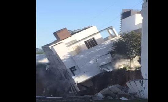 مشهد مروع لانهيار منزل في ثوان (فيديو)