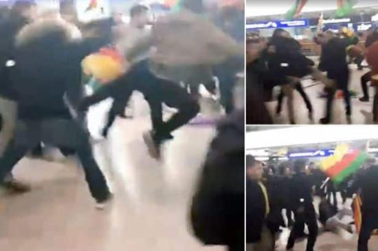 بالفيديو: أكراد وأتراك يحولون مطار ألماني إلى حلبة مصارعة بسبب عملية عفرين