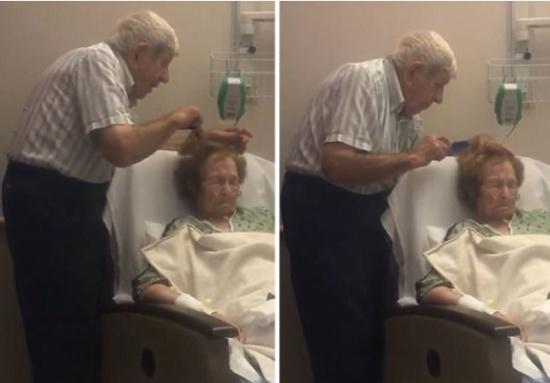 فيديو  في مشهدٍ إنسانيّ نادر الحدوث .. مُسنّ يُسرّح شعر زوجته وهي على فراش الموت!