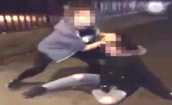 امرأة تلقن طالبة علقة ساخنة بسحلها من شعرها (فيديو)