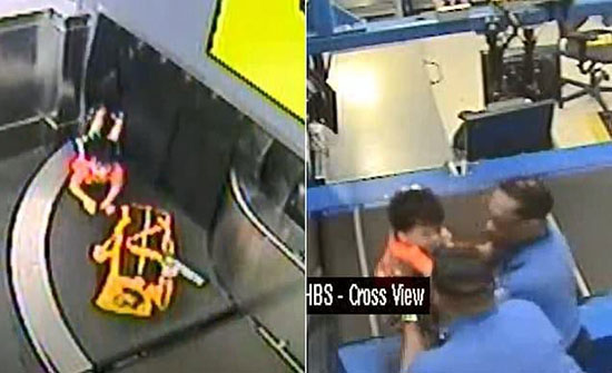 بالفيديو.. طفل يأخذ جولة على حزام نقل الأمتعة في مطار