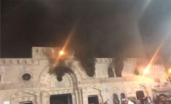 """بالفيديو والصور  : حريق في الطابق العلوي من المسجد الحسيني في  عمان """" تقرير الدفاع المدني """" - تحديث"""