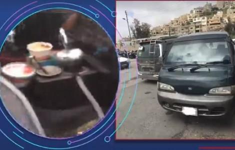 فيديو : سائق يدخن ارجيلة اثناء القيادة في صويلح