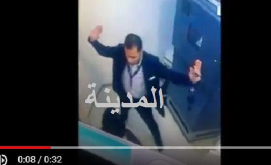شاهدوا بالفيديو .. كيف هدد منفذ السطو المسلح موظفي البنك في عبدون