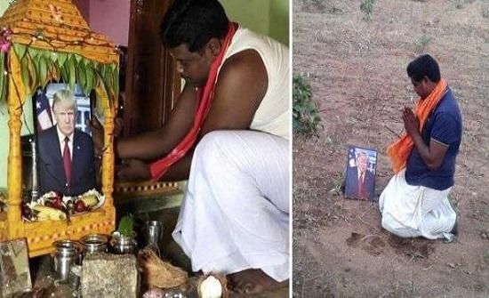 فيديو۔۔۔ رجل هندي يعبد ترامب ويقدم له القرابين ويعتبره إلهً له!