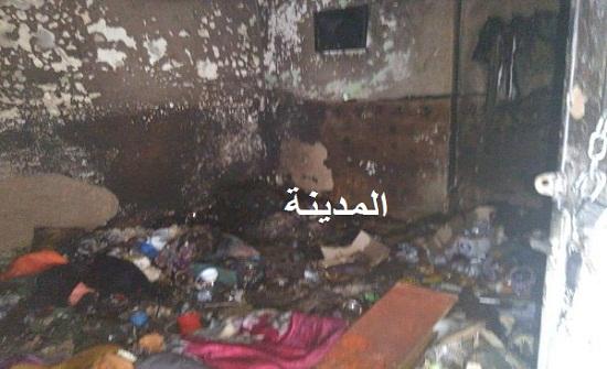 شاهدوا صور حريق المنزل الذي اسفر عن تفحم أب وابنتيه في جرش