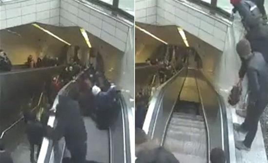 شاهد : لحظة اختفاء رجل فى محطة مترو بتركيا.. ابتلعته حفرة