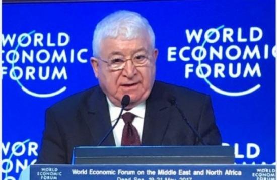 الرئيس العراقي من دافوس.. بلادنا منفتحة على كل الراغبين بالإستثمار