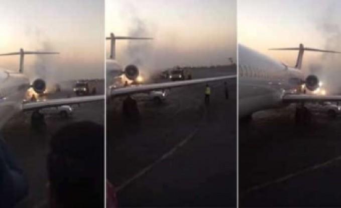 فيديو: اندلاع النيران في طائرة ركاب إيرانية