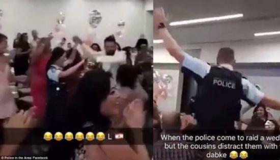 بالصور..  اقتحمت الشرطة عرساً لبنانياً في اوستراليا فعلقت في حلقة الدبكة!