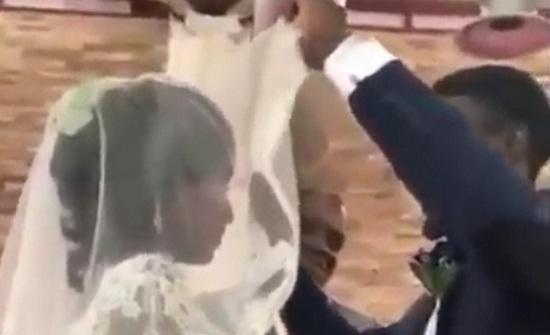 بالفيديو.. أغرب رد فعل من عريس لدى رؤيته وجه عروسه