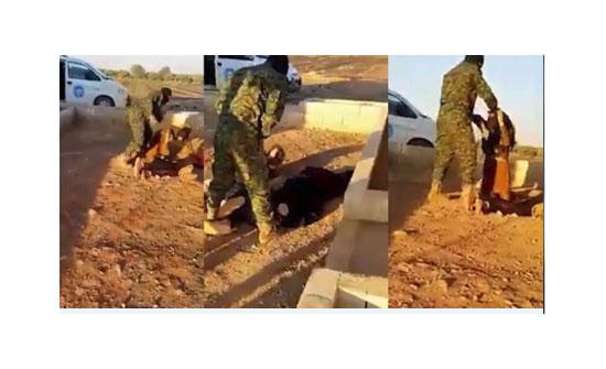صورة : شاهد ماذا فعل هذا المقاتل الكردي باحدى الفتيات العربيات