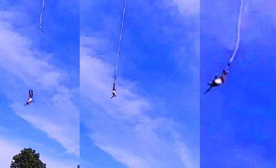 شاهد: القافز بالحبال يتعثر ويسقط من ارتفاع 100 متر