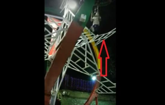 فيديو صادم ..شاهد لحظة سقوط رجل من لعبة ملاهي
