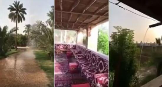 بالفيديو .. صاحب إستراحة في السعودية يُصمم داخلها أمطارا صناعية !