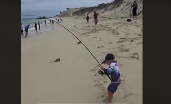 بالفيديو : طفل يصطاد سمكة ضخمة دون مساعدة يثير الإعجاب