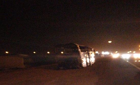 بالفيديو : ما حقيقة احتراق حافلة اردنية بالسعودية