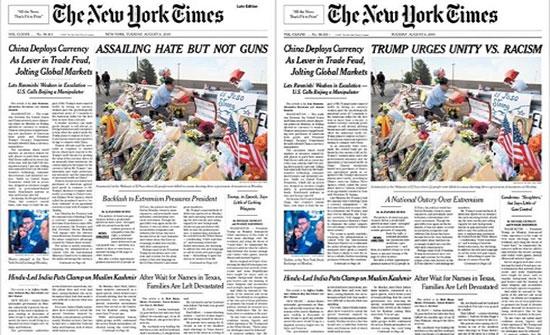 نيويورك تايمز تعدل عنوانها.. السبب أسلحة وكراهية وترمب!