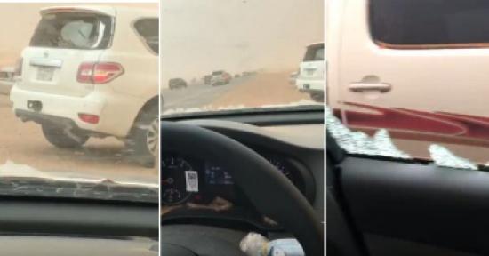 شاهد: العاصفة مدار تداهم السيارات في القصيم وتحطم زجاجها على أصحابها