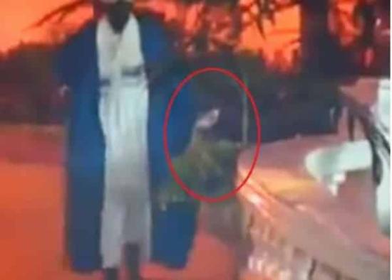 شاهد: الرئيس السوداني عمر البشير يرمي علم بلاده على الأرض!