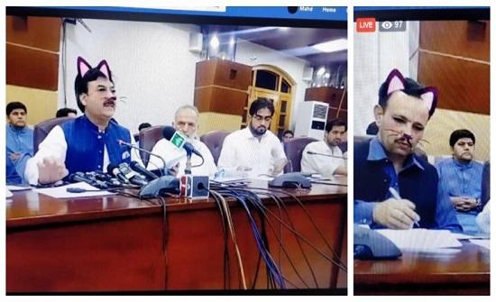 هكذا ظهر الوزير في بث رسمي مباشر بباكستان (صور)
