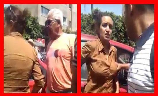يحدث في تونس .. فتاة تضرب والدها المسن  في الشارع .. (فيديو)