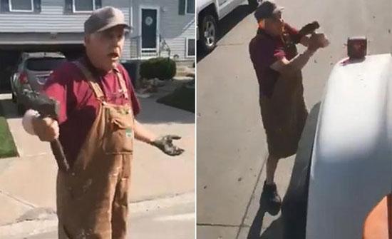 شاهد: ردة فعل مسن أمريكي بعد أن وقفت سيارة بيك آب على عشب أمام منزله