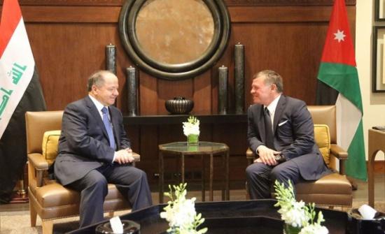الملك لـ برزاني :  الأردن يدعم تحقيق الوفاق بين جميع الفصائل السياسية العراقية