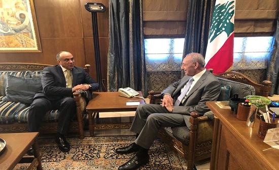 نبيه بري يستقبل القيسي ويثمن مواقف الأردن الداعمة للقضية الفلسطينية والقدس