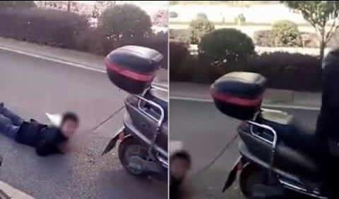 بالفيديو.. تربط ابنها وتجره خلفها عقاباً على شقاوته