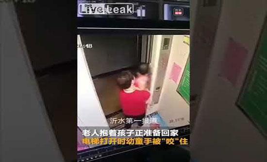 """فيديو : لقطات مروعة للحظة """"حشر"""" يد طفل في باب مصعد"""
