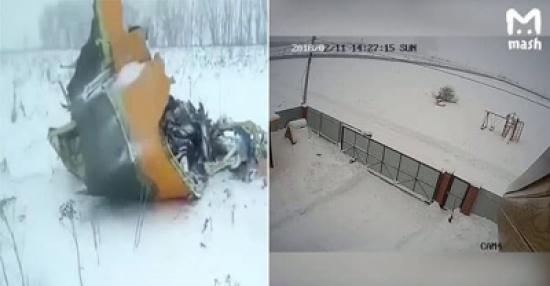 شاهد: لحظة ارتطام طائرة الركاب الروسية بالأرض وتحولها لكرة نار