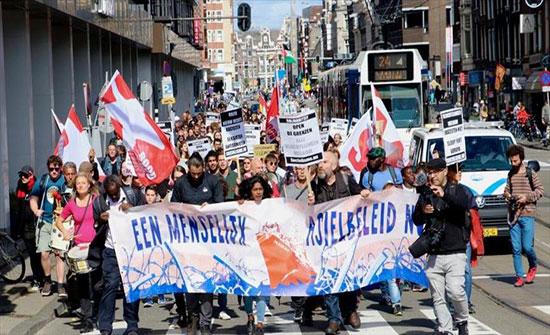 مئات يتظاهرون في أمستردام تنديدا بالسياسات الأوروبية حيال اللاجئين