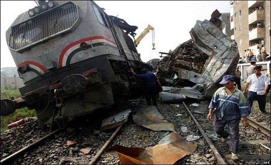 ارتفاع عدد ضحايا تصادم قطاري الاسكندرية الى 41