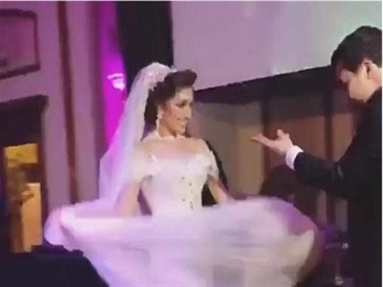 """بالفيديو.. ابنة ونيس تشعل حفل زفافها بالرقص على مهرجان """"لا لا"""""""