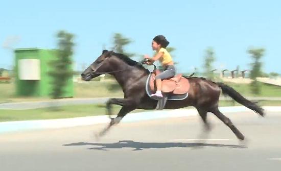 بالفيديو : طفلة اذربيجانية تشعل «الإنترنت» بمهاراتها في امتطاء الحصان