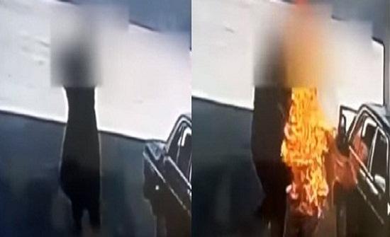 بالفيديو.. لحظة انتحار رجل باشعال النيران في نفسه داخل محطة وقود