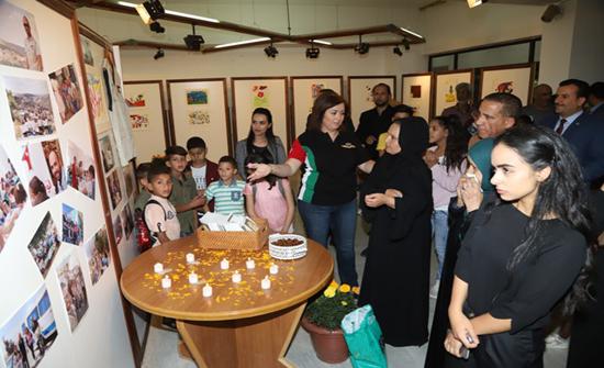معرض رسومات مبادرة (لونها بالأمل) عربون وفاء لفارسها العدوان في (الأردنية)