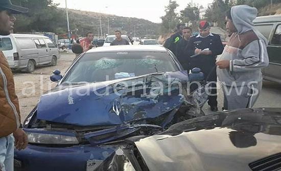 3 اصابات واحدة خطيرة بحادث تصادم على طريق كفرنجة