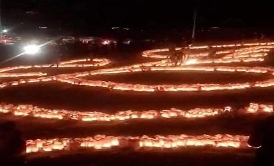 السلط : اضاءة 22 الف شمعة بطول 6 كم في شارع الحمام التراثي