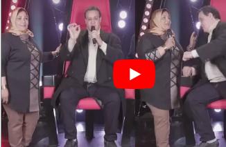 رد فعل والد أشرقت احمد بعد غناء زوجته وهو جالس علي كرسي تامر حسني