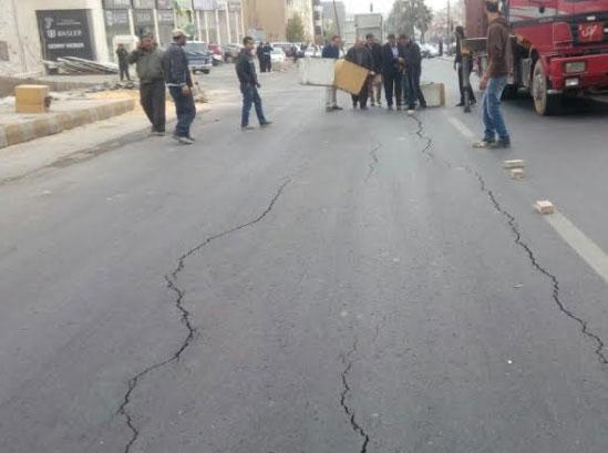 عجلون:تصدع وهبوط احد شوارع عنجرة