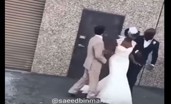 موقف محرج لعروس بحفل زفافها بسبب حمامة (فيديو)